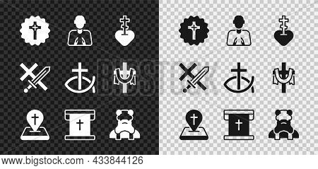 Set Christian Cross, Hands In Praying Position, Religious Heart, Location Church Building, Flag With
