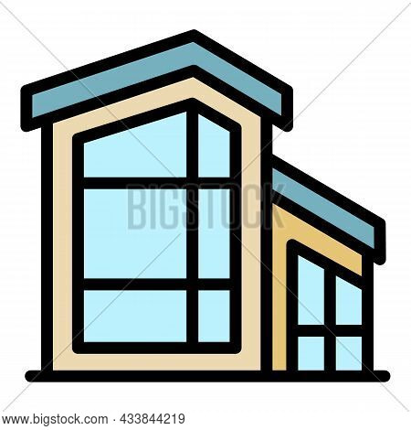 House With Large Windows Icon. Outline House With Large Windows Vector Icon Color Flat Isolated