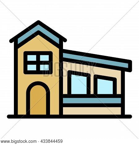House With A Sloping Roof Icon. Outline House With A Sloping Roof Vector Icon Color Flat Isolated
