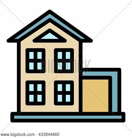 Small Two Storey House Icon. Outline Small Two Storey House Vector Icon Color Flat Isolated