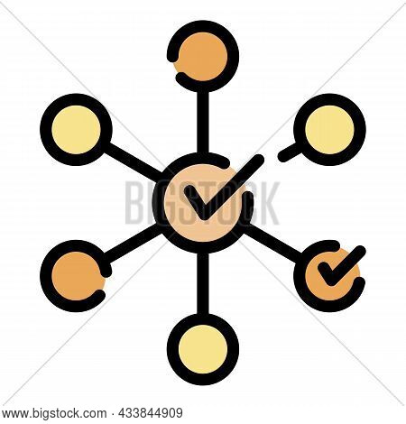 Checkboxes Flower Icon. Outline Checkboxes Flower Vector Icon Color Flat Isolated