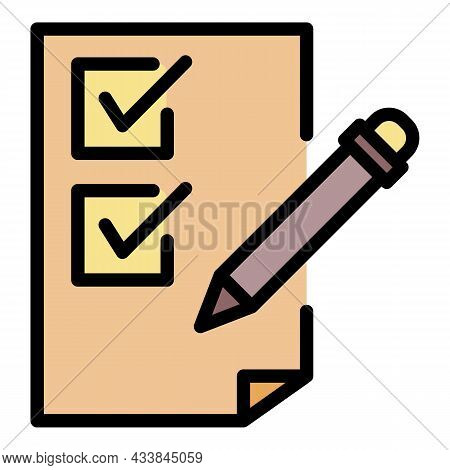 Pencil And Checkbox List Icon. Outline Pencil And Checkbox List Vector Icon Color Flat Isolated