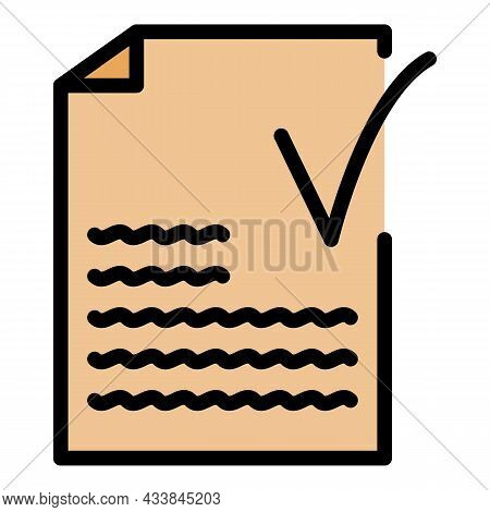 Approved Text Icon. Outline Approved Text Vector Icon Color Flat Isolated