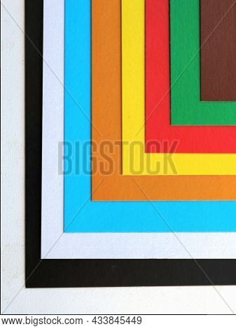 Colorful Geometric Background From Sheets Of Colored Paper, Bright Pattern Of Lines And Corners, Col