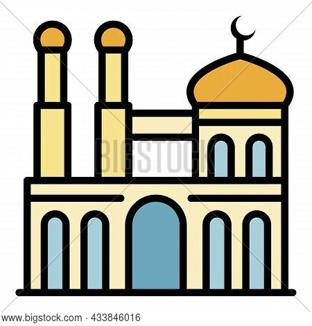 Mosque With Two Minarets Icon. Outline Mosque With Two Minarets Vector Icon Color Flat Isolated
