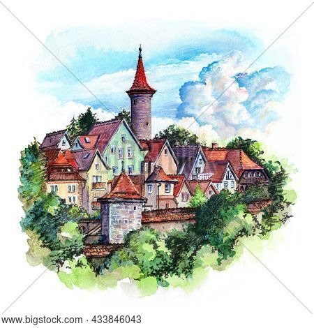 Watercolor Sketch Of Town Wall, Quaint Colorful Facades And Roofs Of Medieval Old Town Of Rothenburg
