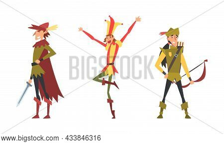 Medieval Nobleman And Archer With Bow And Arrow Vector Set