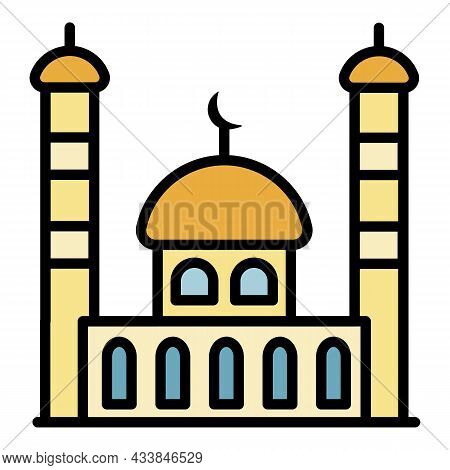 Arab Mosque Icon. Outline Arab Mosque Vector Icon Color Flat Isolated