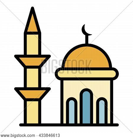 Minaret And Dome Mosque Icon. Outline Minaret And Dome Mosque Vector Icon Color Flat Isolated