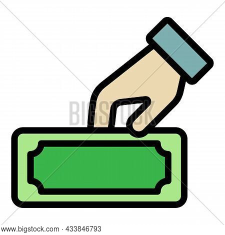 Hand Giving A Banknote Icon. Outline Hand Giving A Banknote Vector Icon Color Flat Isolated