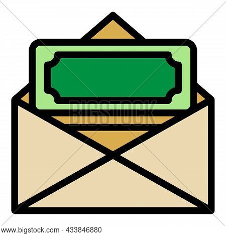 Envelope With Donations Icon. Outline Envelope With Donations Vector Icon Color Flat Isolated