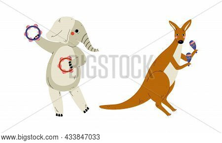 Funny Elephant And Kangaroo Character Playing Maraca And Tambourine Performing Concert Vector Set