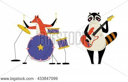 Funny Fox And Raccoon Character Playing Electric Guitar And Drum Performing Concert Vector Set