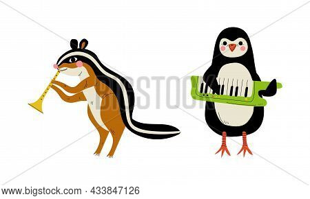 Funny Chipmunk And Penguin Character Playing Keyboard And Flute Performing Concert Vector Set