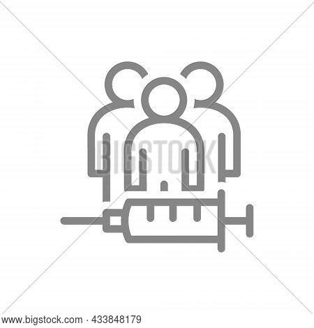 Medical Syringe And People Line Icon. Vaccination Of The Population, Collective Immunity, Immunizati