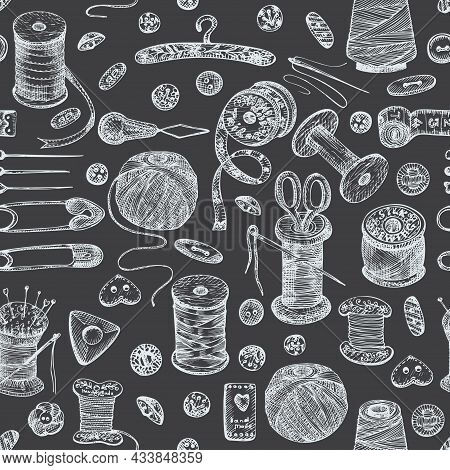 Seamless Pattern With Chalk Hand-drawn Vintage Sewing Tools On Chalkboard. Buttons, Threads, Needles