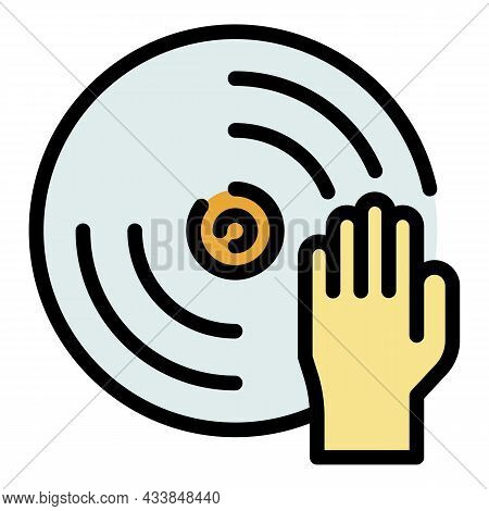 Hand On Disk Icon. Outline Hand On Disk Vector Icon Color Flat Isolated