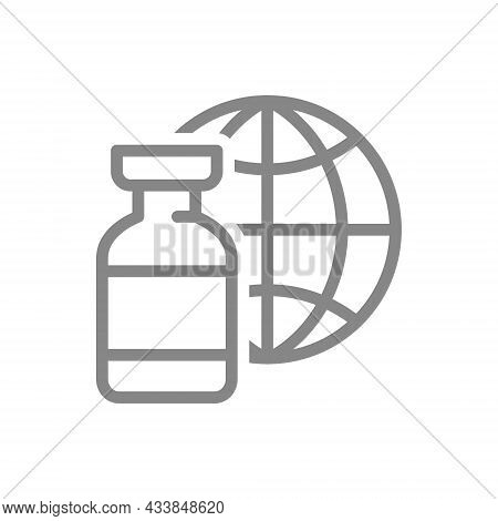Medical Ampoule And The Globe Earth Line Icon. Worldwide Immunity, Vaccine, Serum, Collective Immuni