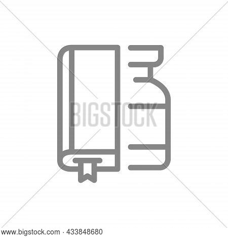Medical Ampoule And Book Line Icon. Vaccination Information, Serum Information Symbol