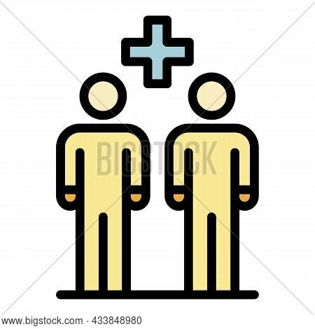 Plus Between Two People Icon. Outline Plus Between Two People Vector Icon Color Flat Isolated