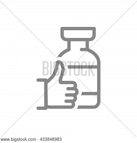 Medical Ampoule With Thumb Up Line Icon. Vaccine, Serum, Vaccination Information, Immunization Symbo