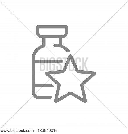 Medical Ampoule With Star Line Icon. Vaccine, Serum, Vaccination Information, Immunization Symbol