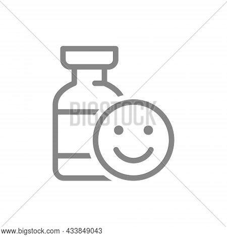 Medical Ampoule And Happy Face Line Icon. Vaccination, Vaccine Evaluation, Positive Feedback Symbol