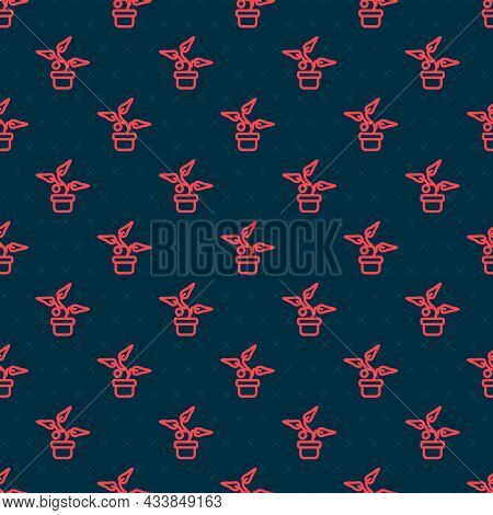 Red Line Plant In Pot Icon Isolated Seamless Pattern On Black Background. Plant Growing In A Pot. Po