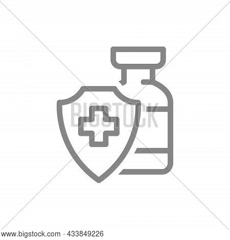 Medical Ampoule And Shield With Cross Mark Line Icon. Vaccination, Serum, Certified Vaccine, Immuniz
