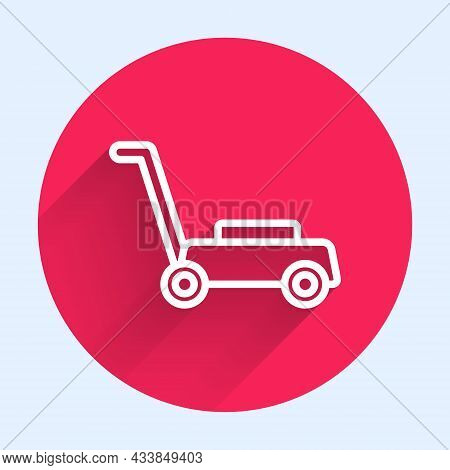 White Line Lawn Mower Icon Isolated With Long Shadow. Lawn Mower Cutting Grass. Red Circle Button. V