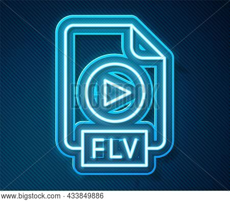 Glowing Neon Line Flv File Document Video File Format. Download Flv Button Icon Isolated On Blue Bac