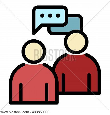 Communication Of Two People Icon. Outline Communication Of Two People Vector Icon Color Flat Isolate