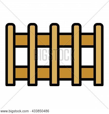 Rare Fence Icon. Outline Rare Fence Vector Icon Color Flat Isolated