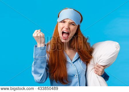 Mad, Outraged And Furious Redhead Caucasian Girl Shouting, Cursing Roommate Being Too Loud At Night,