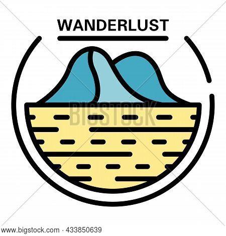 Wanderlust Logo. Outline Wanderlust Vector Logo Color Flat Isolated