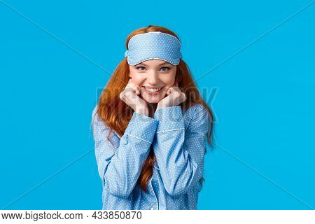Dreamy And Cute, Lovely Feminine Redhead Woman In Sleep Mask And Nightwear, Leaning Closer To Hear A