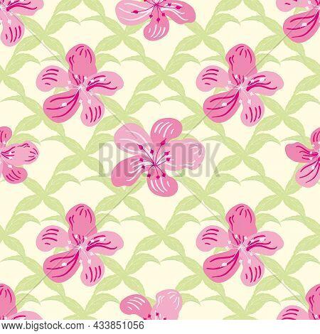 Sakura Blossom Seamless Vector Pattern Background. Cherry Pink Petals On Green Leaf Lattice Backdrop
