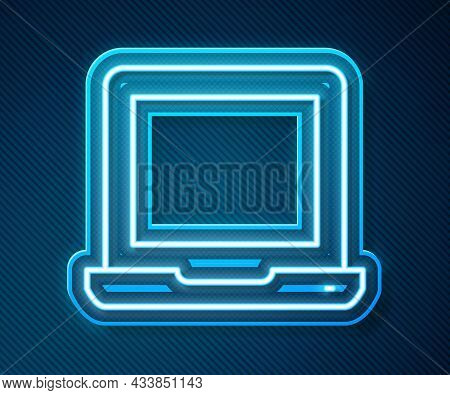 Glowing Neon Line Laptop Icon Isolated On Blue Background. Computer Notebook With Empty Screen Sign.