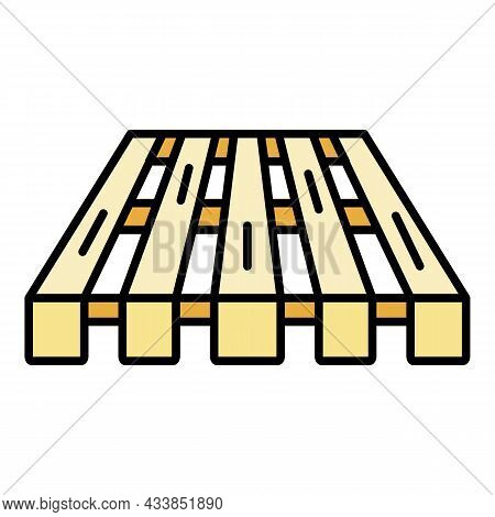 Wood Pallet Icon. Outline Wood Pallet Vector Icon Color Flat Isolated