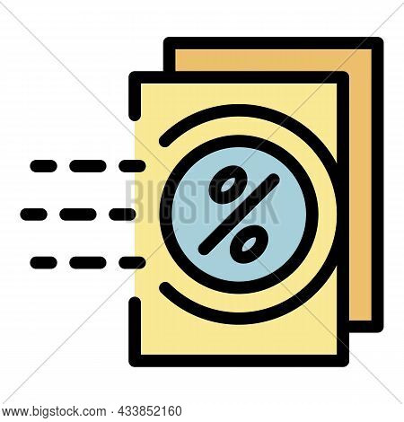 Lease Percent Papers Icon. Outline Lease Percent Papers Vector Icon Color Flat Isolated