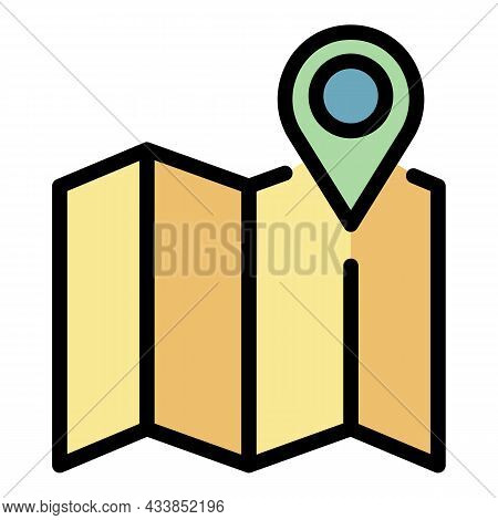 Leasing Pin Map Icon. Outline Leasing Pin Map Vector Icon Color Flat Isolated