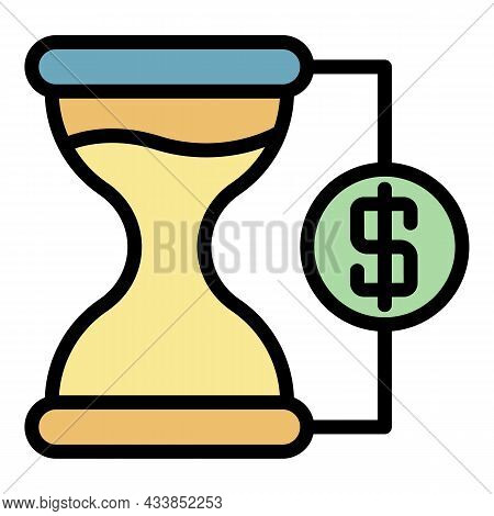 Leasing Hourglass Icon. Outline Leasing Hourglass Vector Icon Color Flat Isolated