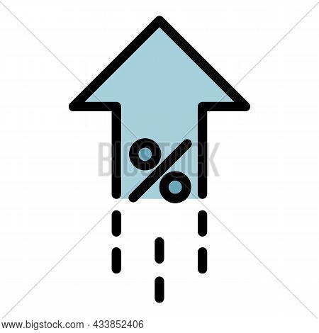 Leasing Percent Rate Up Icon. Outline Leasing Percent Rate Up Vector Icon Color Flat Isolated