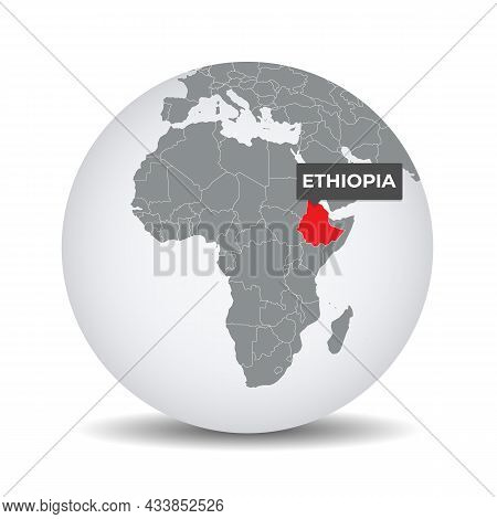 World Globe Map With The Identication Of Ethiopia. Map Of Ethiopia. Ethiopia On Grey Political 3d Gl