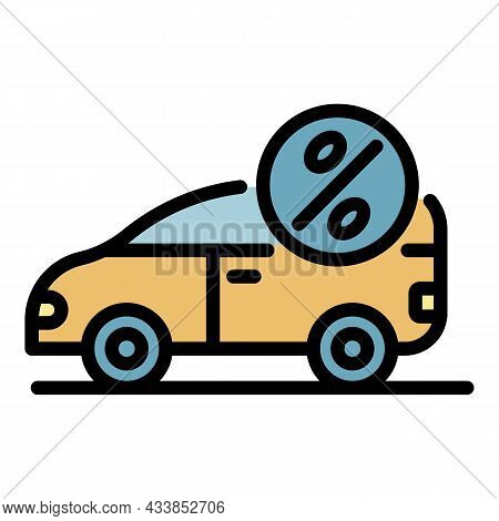 Car Percent Lease Icon. Outline Car Percent Lease Vector Icon Color Flat Isolated