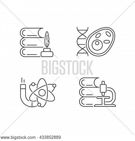 Diversity Of Subjects In School Linear Icons Set. Humanities And Applied Sciences. Science Lesson. C