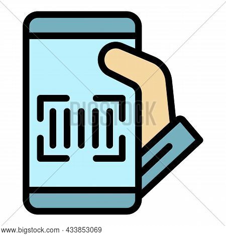 Phone Barcode Scanner Icon. Outline Phone Barcode Scanner Vector Icon Color Flat Isolated
