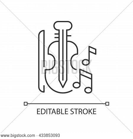 Music Linear Icon. Playing Musical Instruments In Educational Institutions. Violin, Bow, Notes. Thin