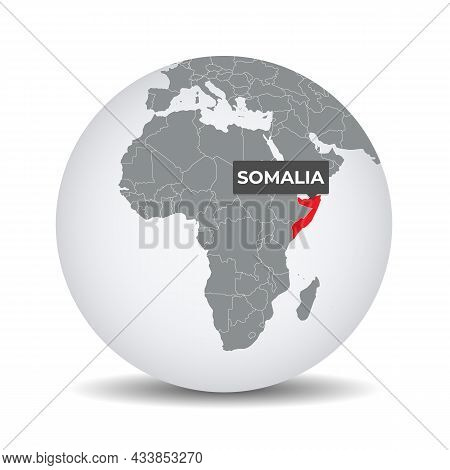 World Globe Map With The Identication Of Somalia. Map Of Somalia. Somalia On Grey Political 3d Globe