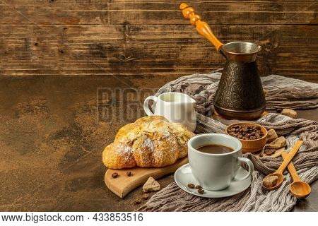 Coffee And Croissant, Good Morning And Breakfast Concept